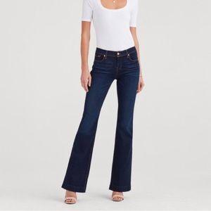 7FAM | Dark Wash White Stitch Dojo Wide Leg Jeans